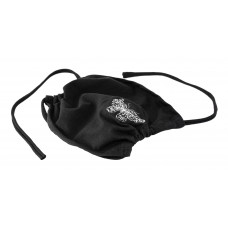 Double-layer face mask butterfly, black, silver embroidery