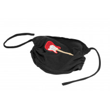 Double-layer face mask, electric guitar, black, red/white embroidery