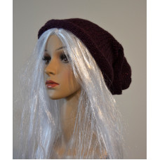Knitted hat - purple with glittering thread