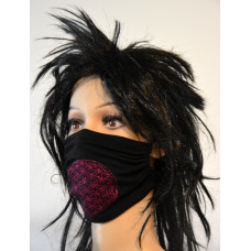 Double-layer face mask - flower of life, black, fuchsia embroidery