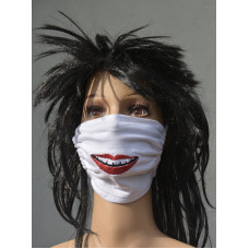 Double-layer face mask - lips with teeth, white, red embroidery