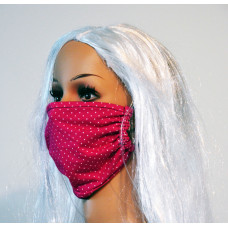 Double-sided face mask - pink with polka dots / jeans